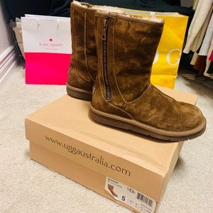 Rare UGG booties with medal zipper and medal logo